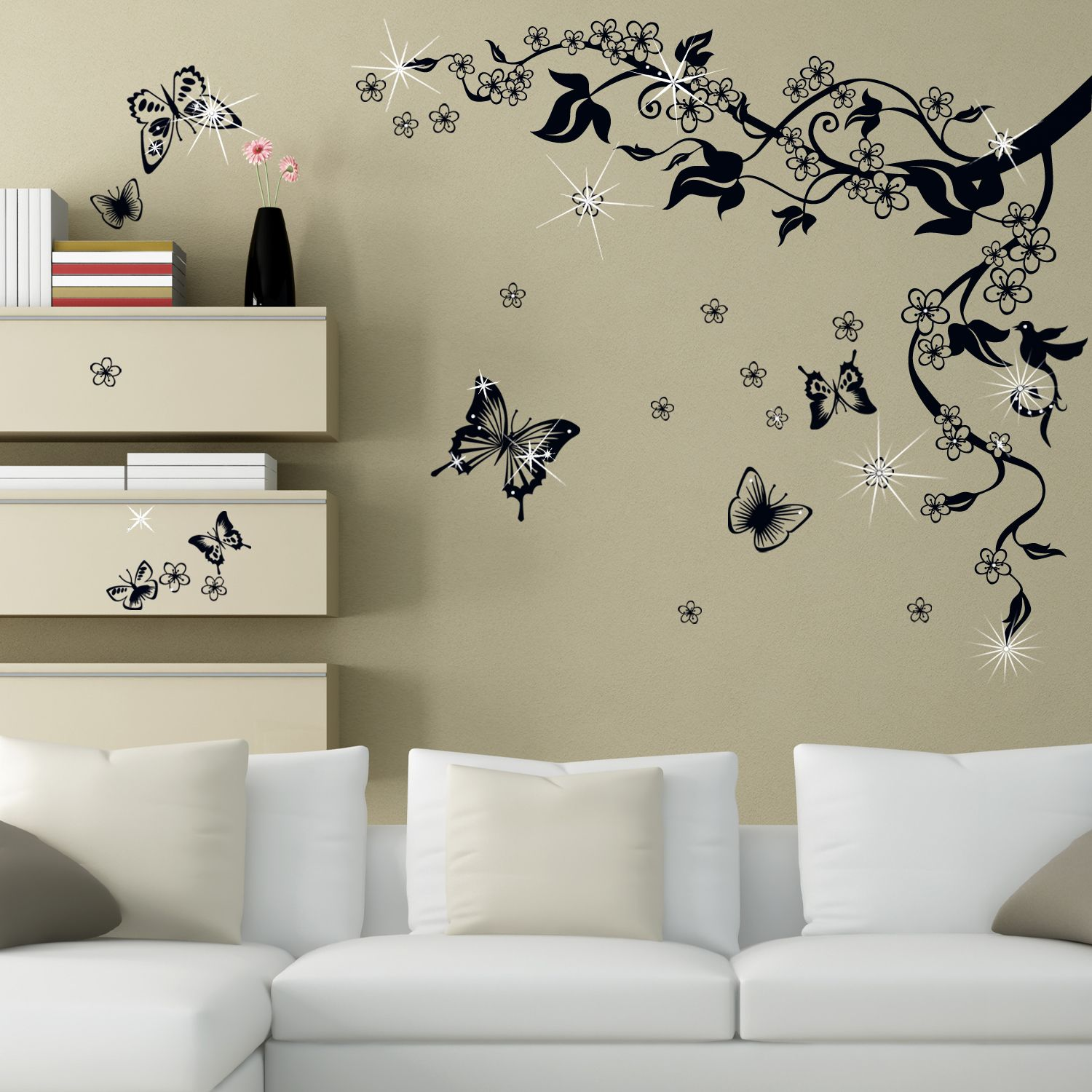 Wall Sticker Decal Butterfly Vine with Swarovski Crystals