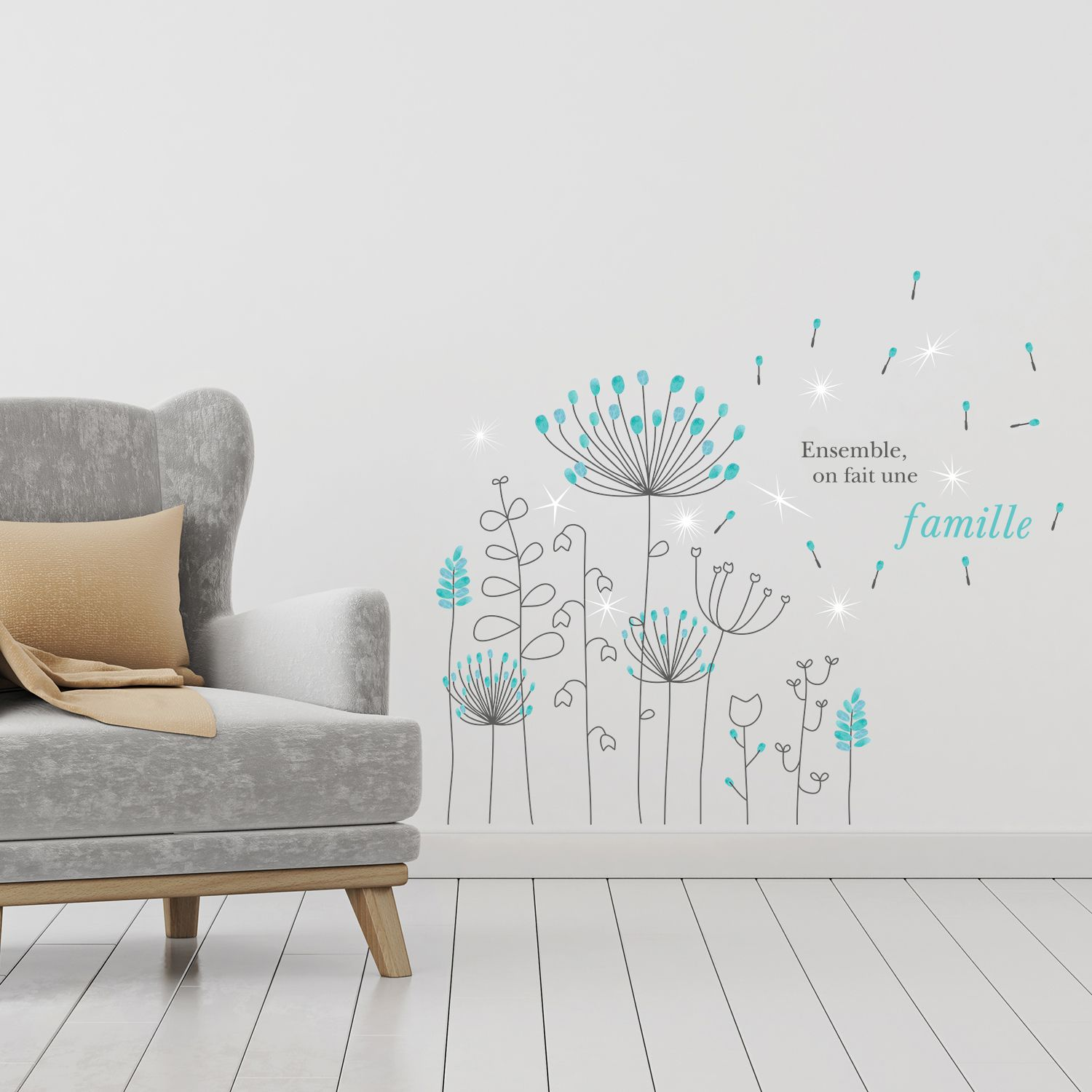 French Quote Dandelion with Swarovski Crystals Wall Sticker