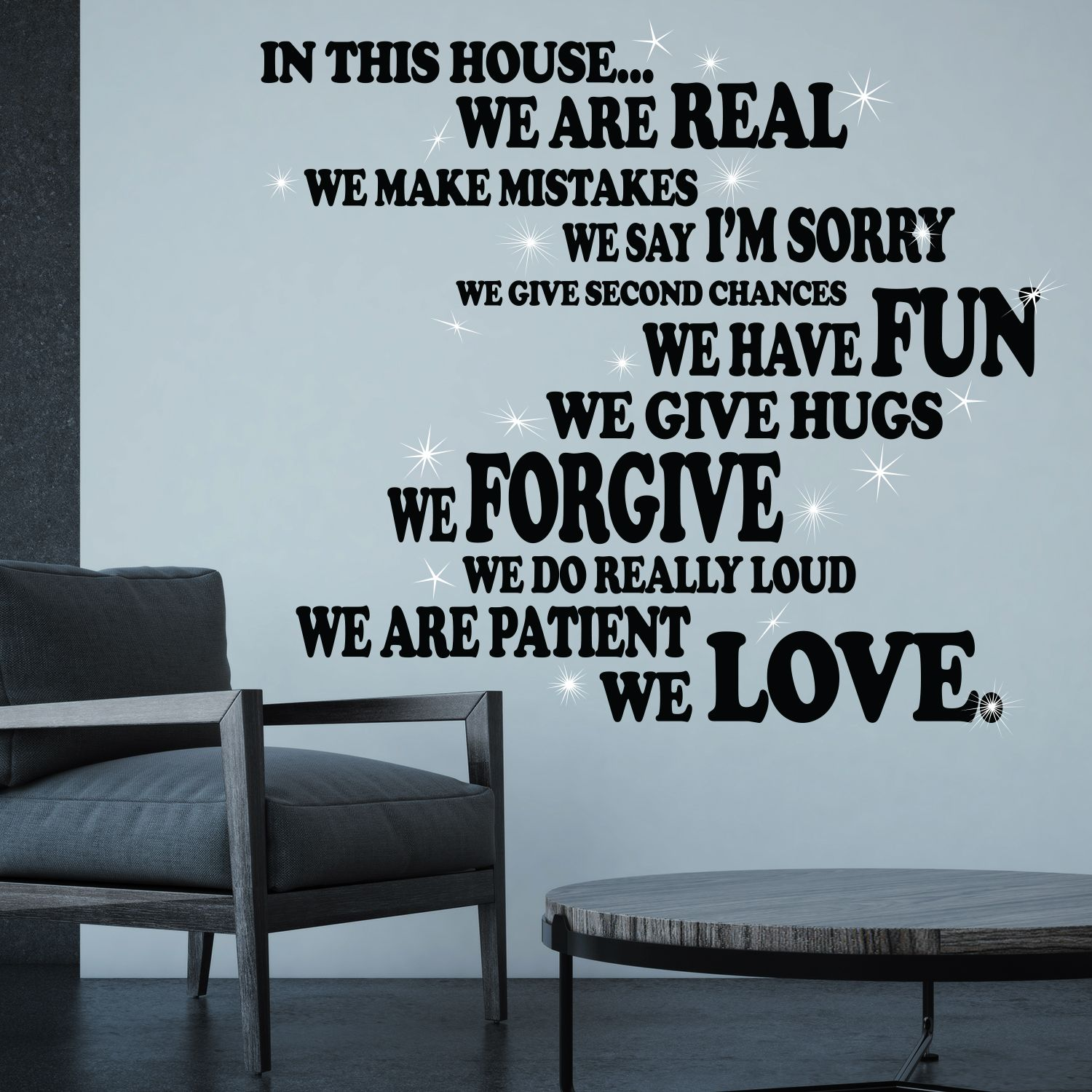 Walplus Family House Rule Quote Wall Art Sticker Decoration Decal with Swarovski Crystals