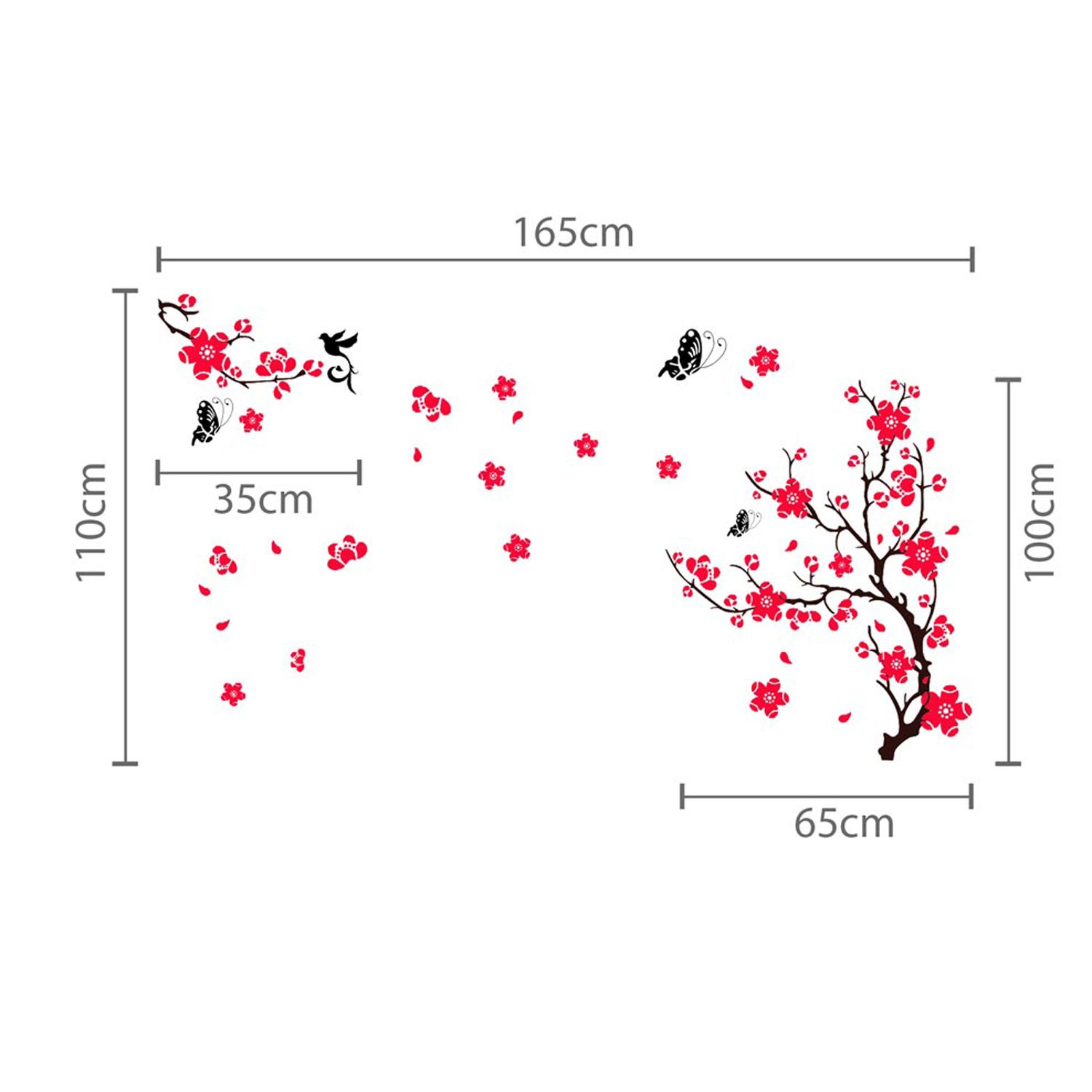 Wall Sticker Decal Pink Blossom Flowers with  Swarovski Crystals