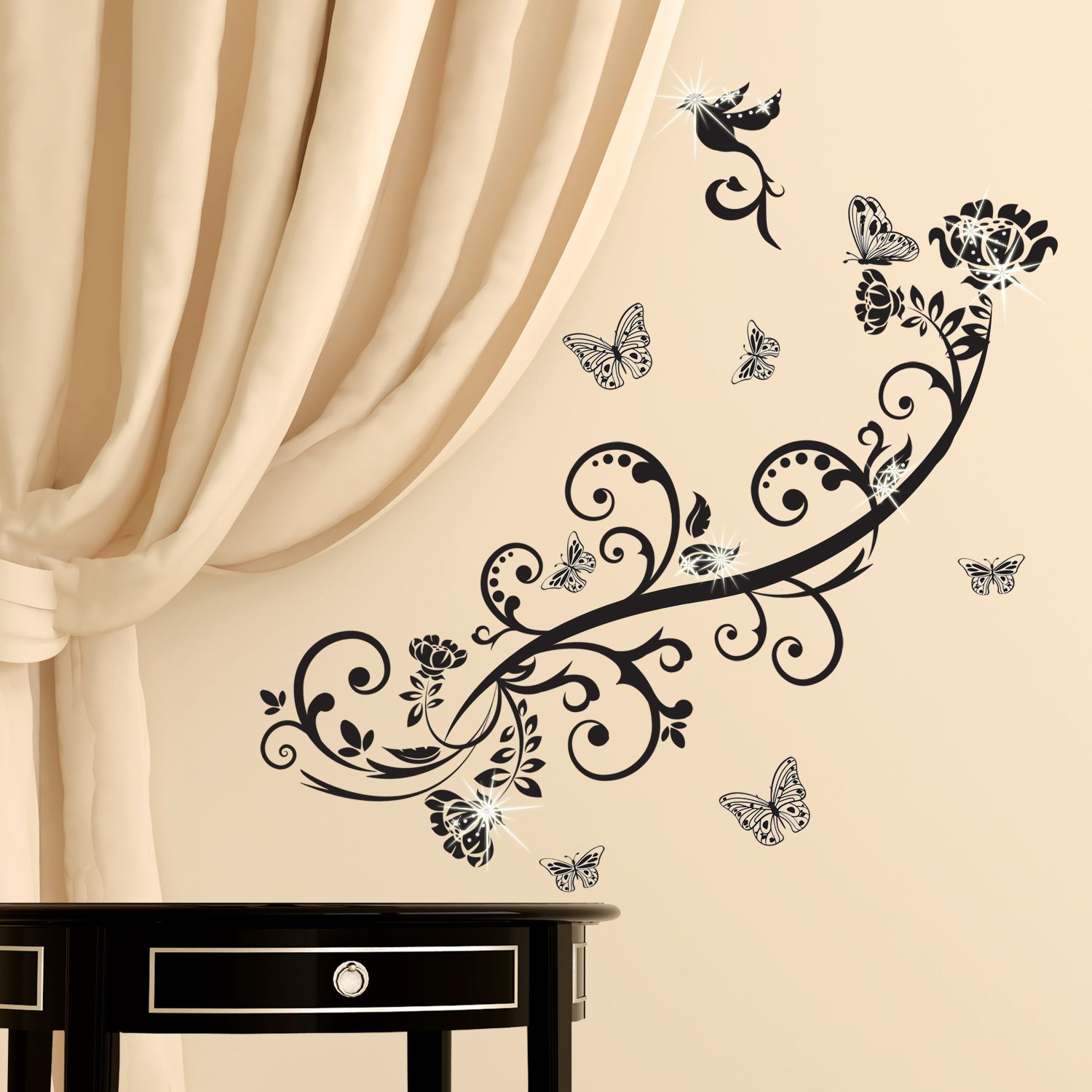 Walplus Wall Sticker Decal Wall Art Butterfly Vine with Swarovski Crystals