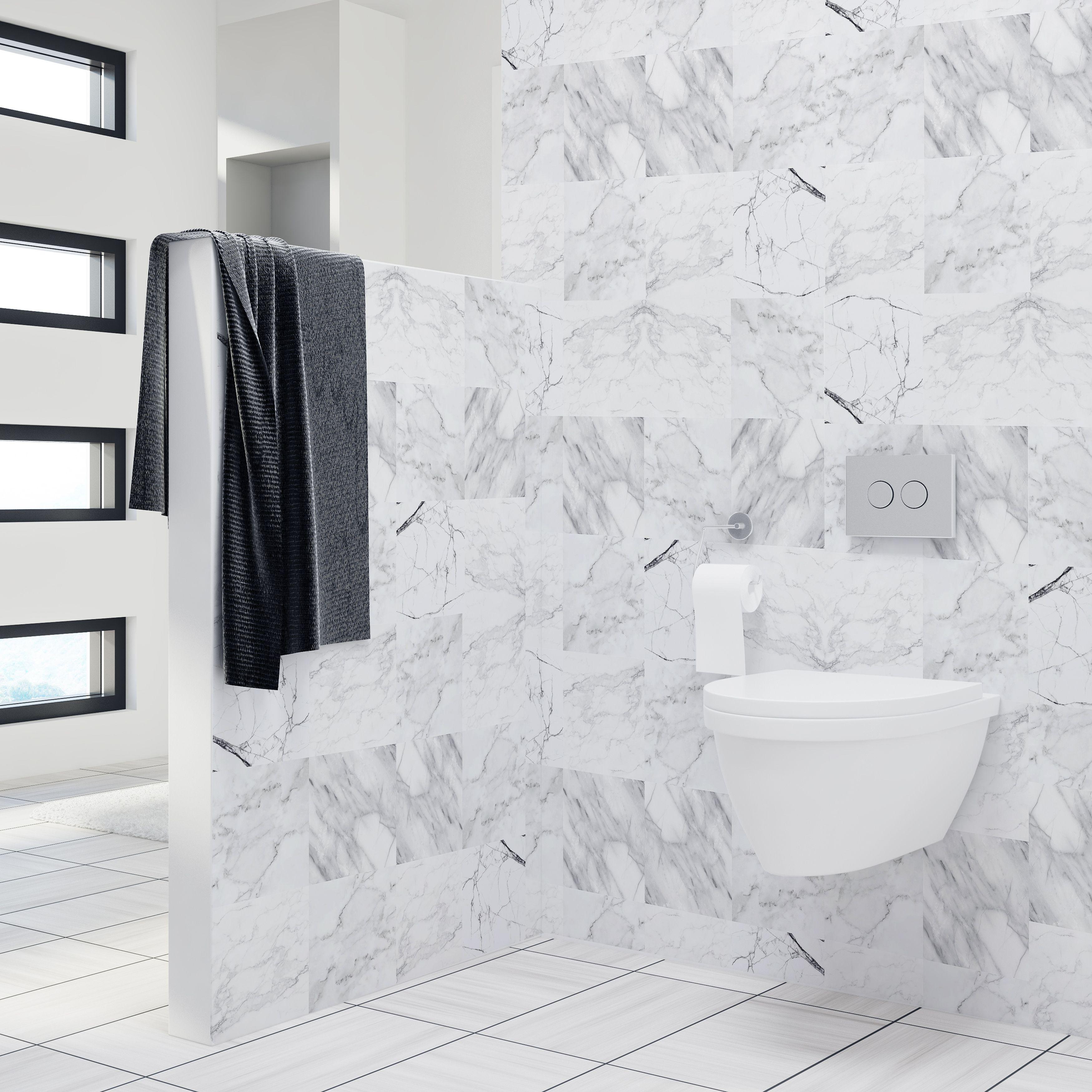 WT1023 Marble Tiles Wall Stickers Mix - 10 cm x 10 cm - 24 pcs.