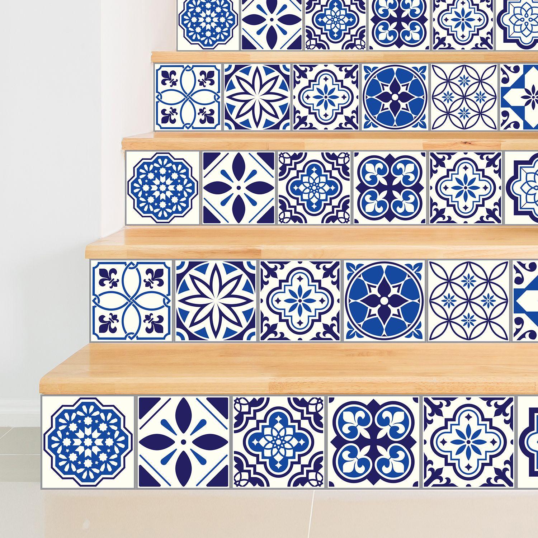 WT1501 - Spanish & Moroccan Blue Tiles Mix Wall Stickers - 15 cm  x 15 cm - 24 pcs.