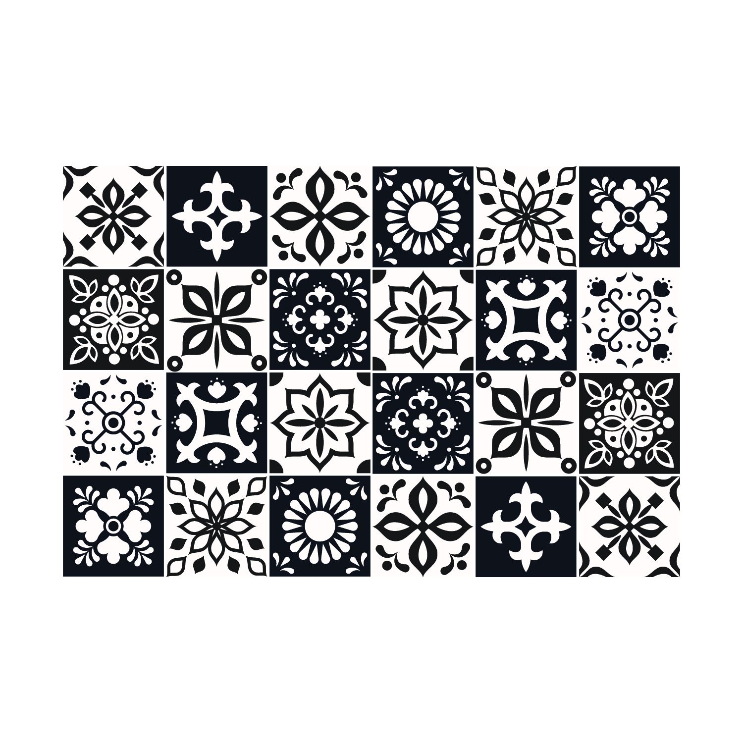 Marjorelle Black and White Moroccan Wall Tile Sticker Set - 15 x 15 cm (6 x 6 in) - 24 pcs, DIY Art, Home Decorations, Decals, Kitchen Decor, Bathroom Ideas