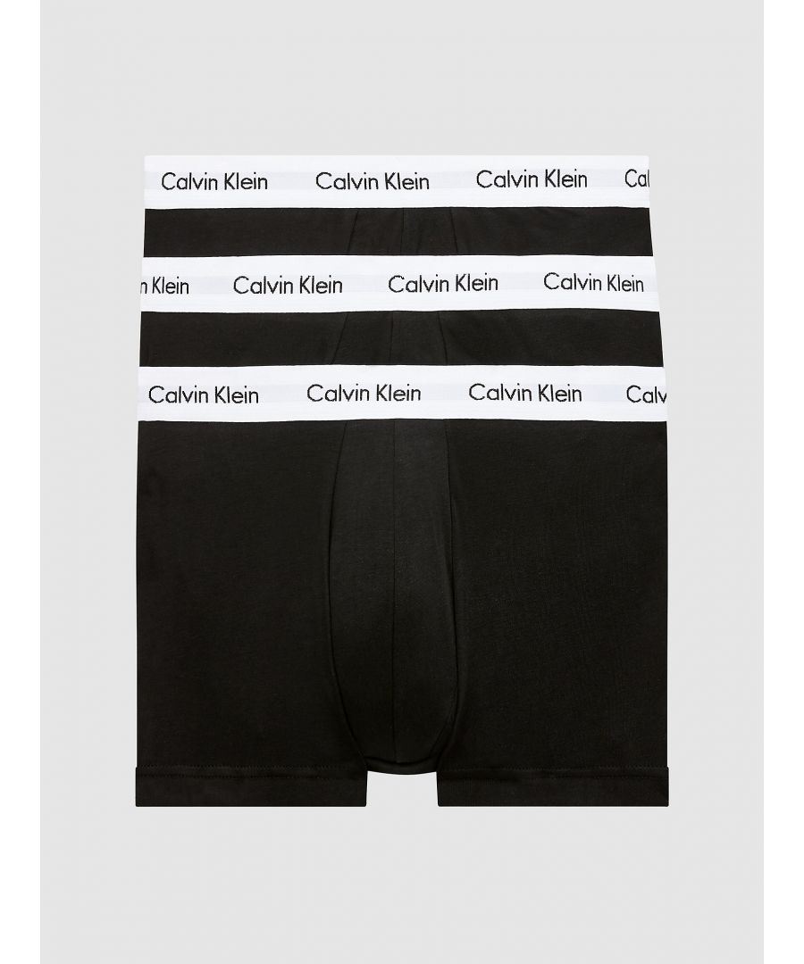 Image for Calvin Klein 3 Pack Trunks - Low Rise - Cotton Stretch, Black