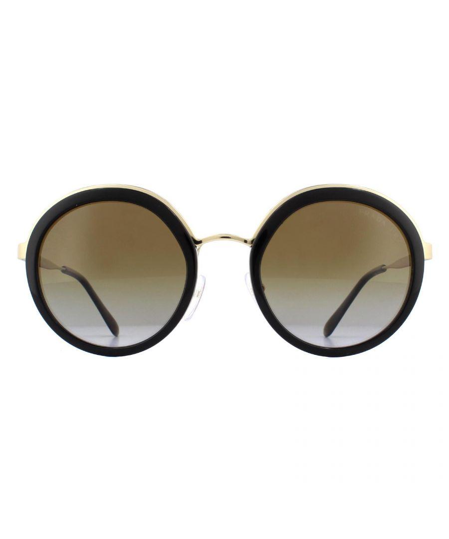 Image for Prada Sunglasses PR50TS 1AB6E1 Black Gold Brown Gradient Polarized