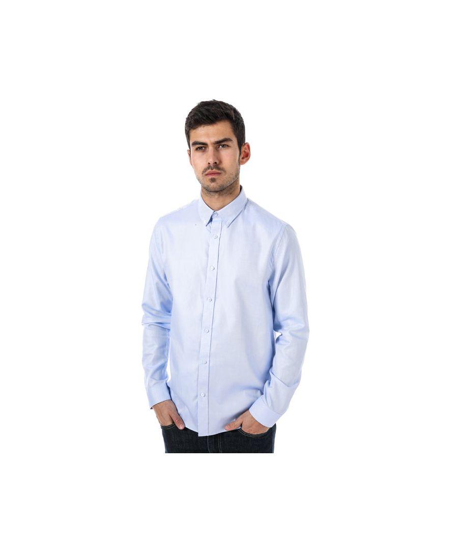 Image for Men's Ben Sherman Yarn Dyed Twill Formal Shirt in Blue-White