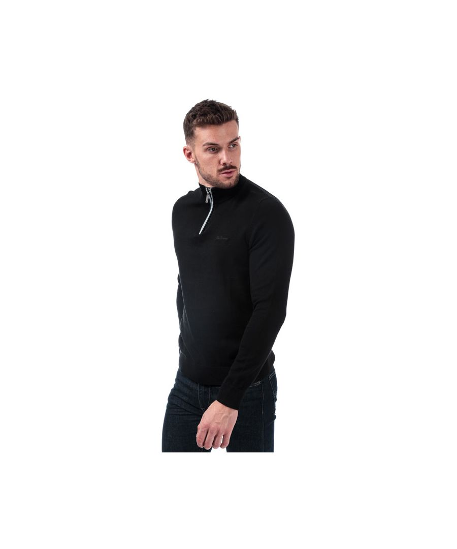 Image for Men's Ben Sherman Funnel Neck 1/4 Zip Knit in Black