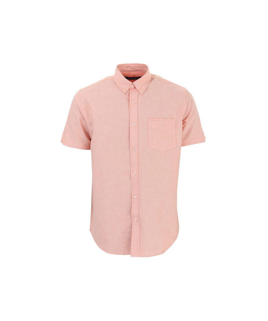 Image for Men's Ben Sherman Oxford Short Sleeve Shirt in Tangerine
