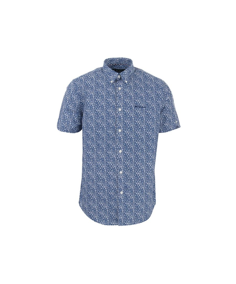 Image for Men's Ben Sherman Floral Print Short Sleeved Shirt in Navy