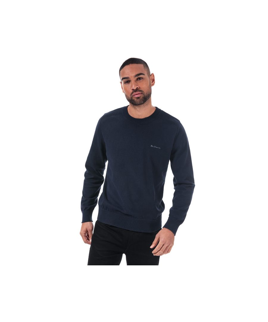 Image for Men's Ben Sherman Stitch Detail Crew Knit in Navy