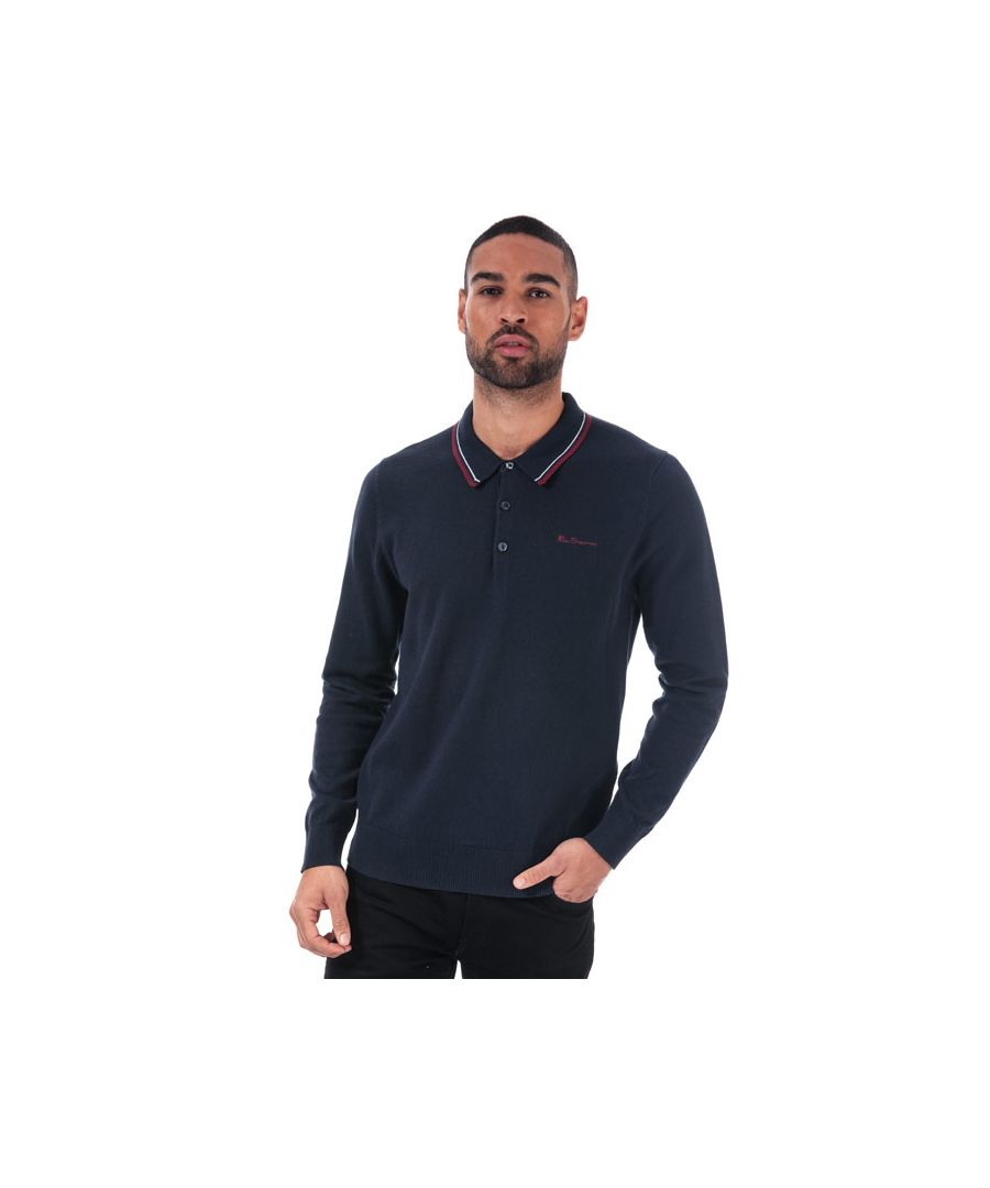 Image for Men's Ben Sherman Tipped Collar Knit Polo Shirt in Navy