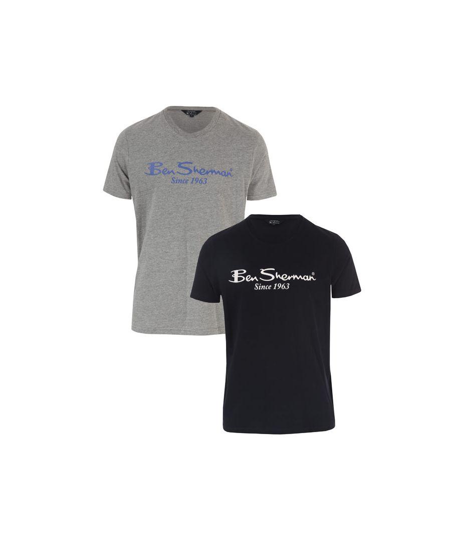 Image for Men's Ben Sherman 2 Pack Large Logo T-Shirt in Navy Grey