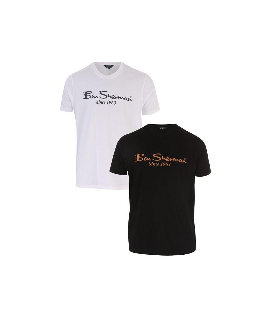 Image for Men's Ben Sherman 2 Pack Large Logo T-Shirt in Black-White