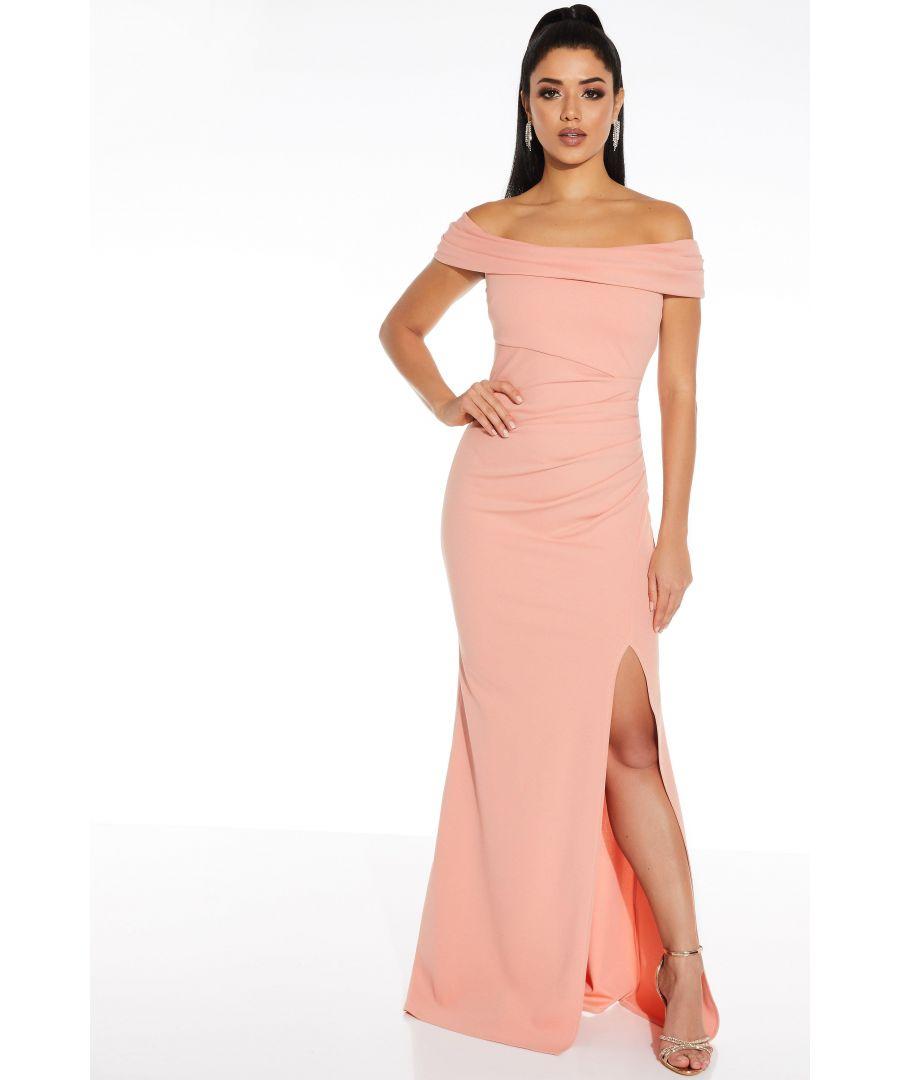 Image for Coral Bardot Split Maxi Dress