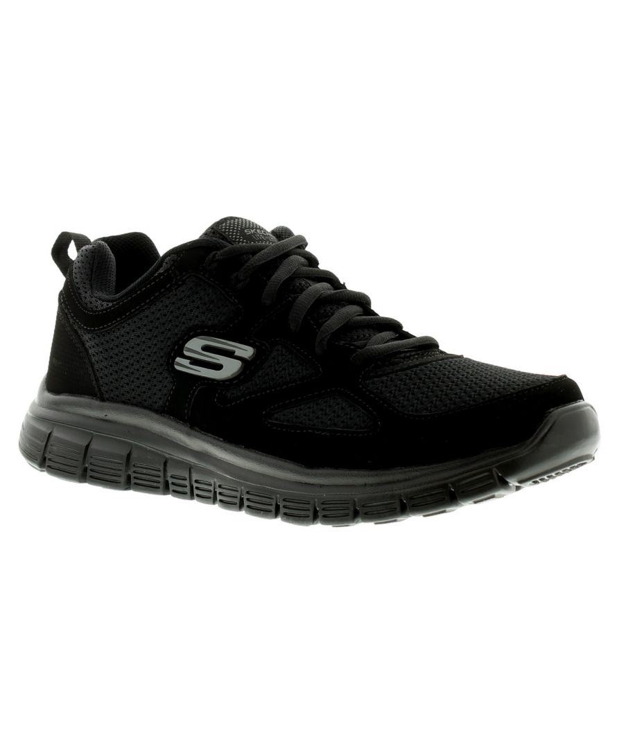 Image for New Mens/Gents Black Skechers Burns Agoura Lace Ups Trainers