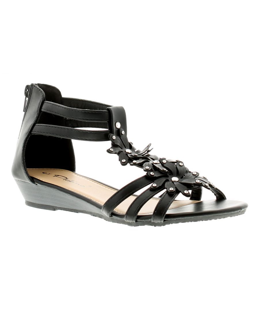 Image for Platino Floella Womens Wedge Sandals Black