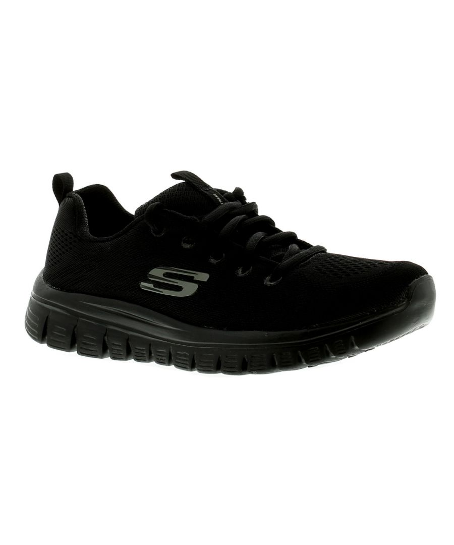 Image for Skechers Graceful Get Connect Womens Ladies Trainers Black/Black
