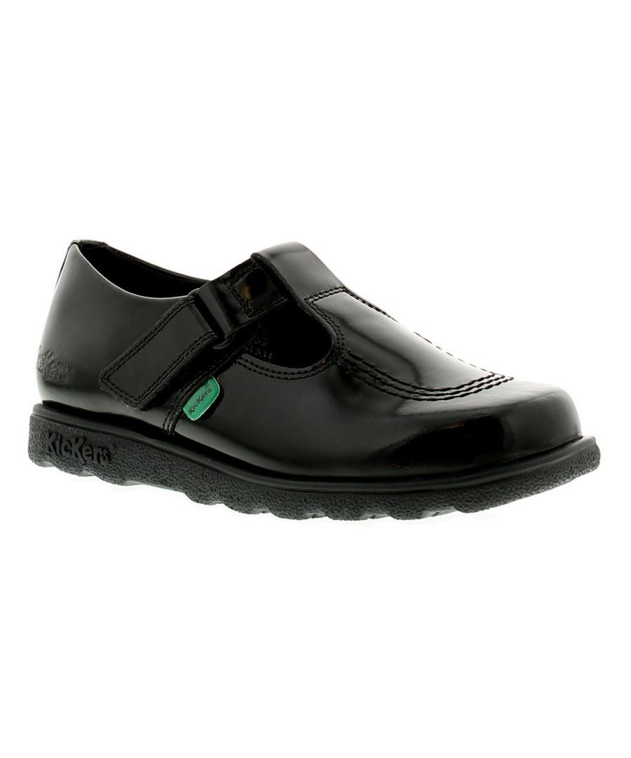 Image for Kickers Fragma T Bar J Girls Kids School Shoes Black