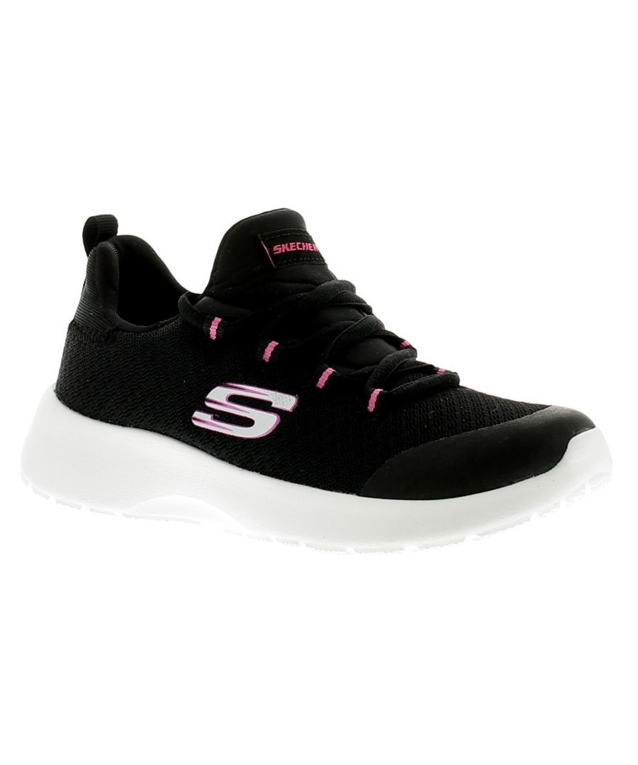 Image for Skechers Dynamight Girls Kids Trainers Black/White