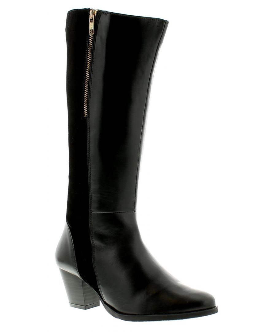 Image for Comfort Plus Beckie Womens Ladies Leather Boots Black