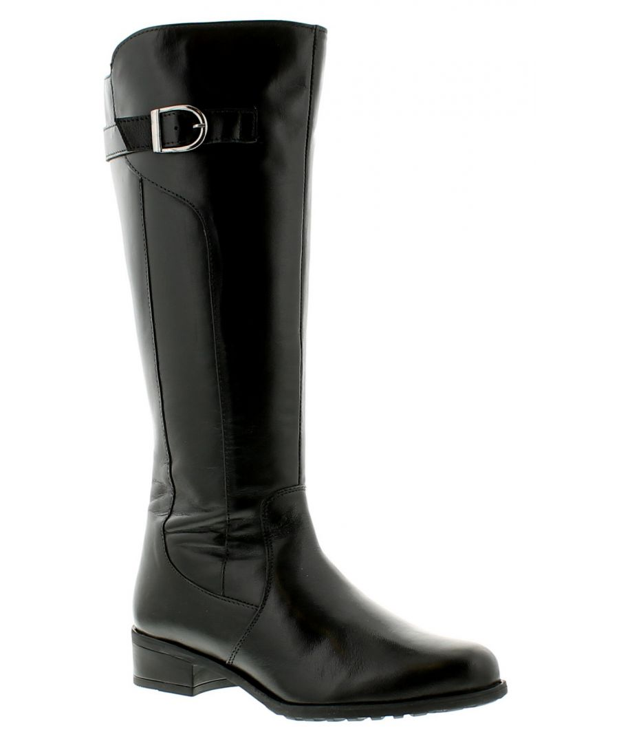 Image for Comfort Plus Caitlyn Womens Ladies Leather Boots Black
