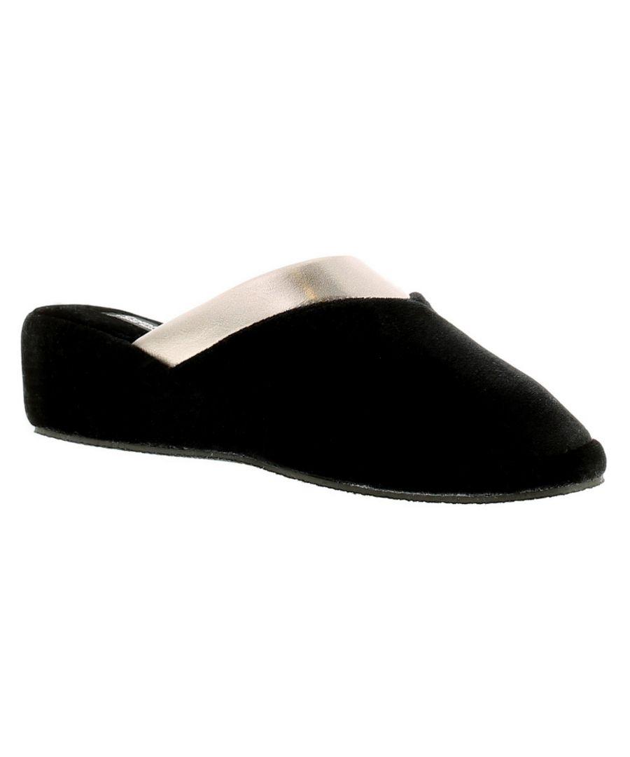 Image for Comfort Plus Maple Con Womens Ladies Full Slippers Black