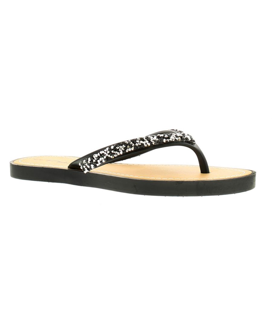 Image for Platino Freya Womens Ladies Flip Flops Beach Sandals Black