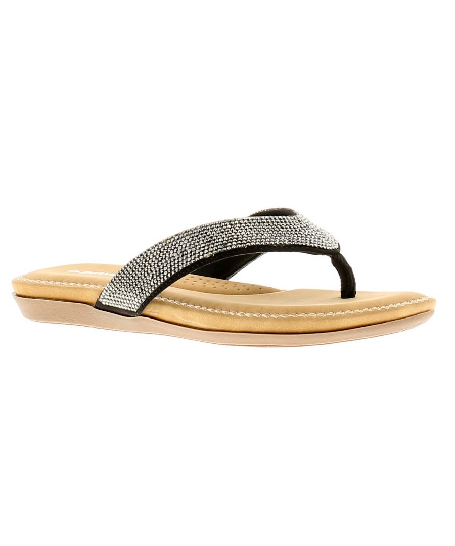 Image for Dunlop Eryn Womens Ladies Flip Flops Beach Sandals Black