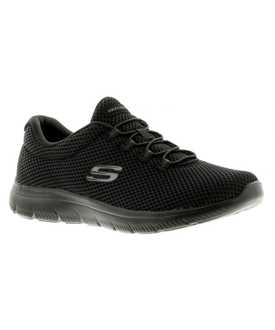 Image for Skechers Summits Womens Ladies Running Trainers Gym Shoes Black/Black