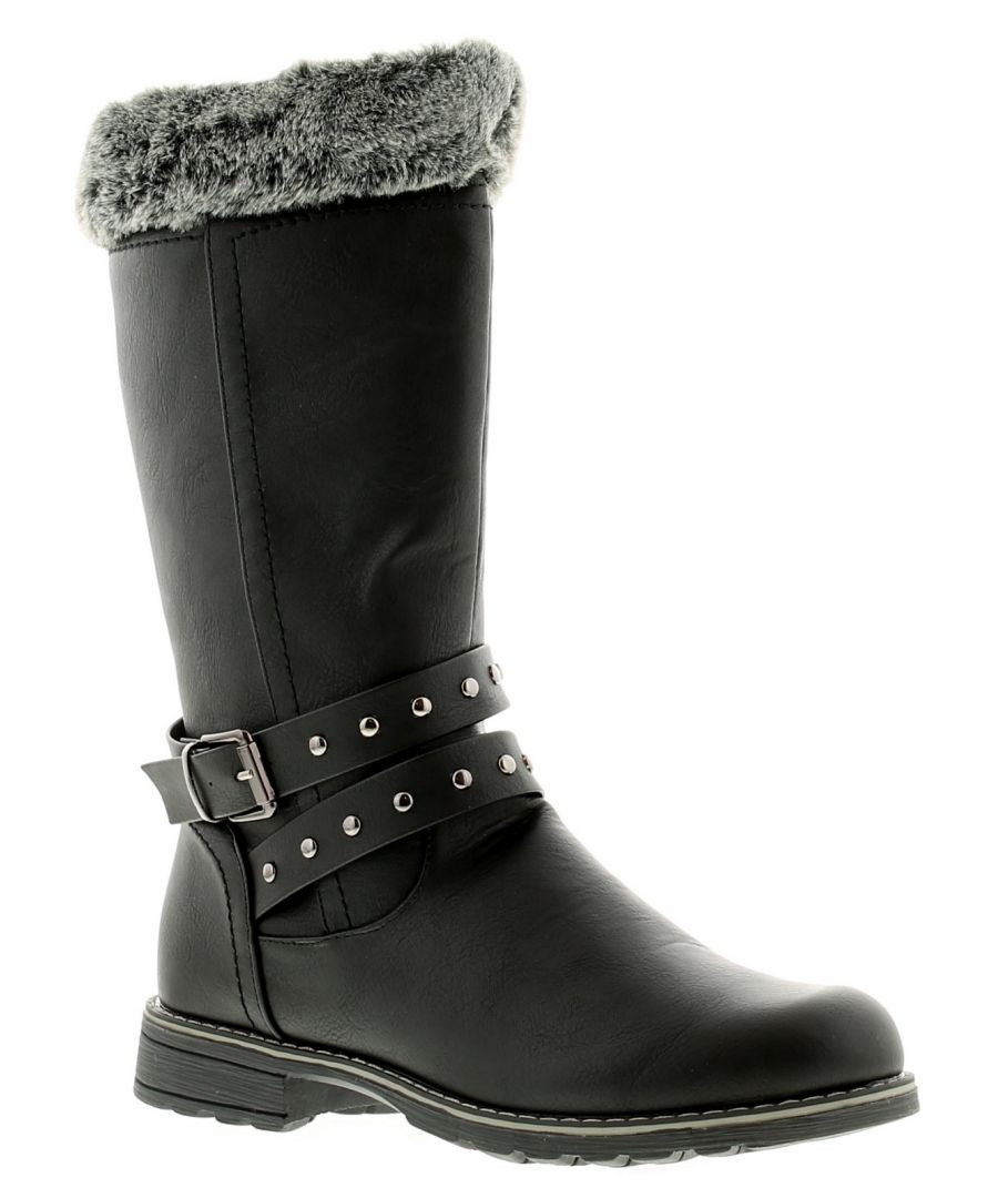 Image for Miss Riot Shiloh Girls Kids Boots Black