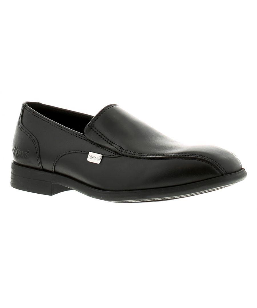 Image for Kickers Jarle Slip Jm Boys Kids Leather School Shoes Black