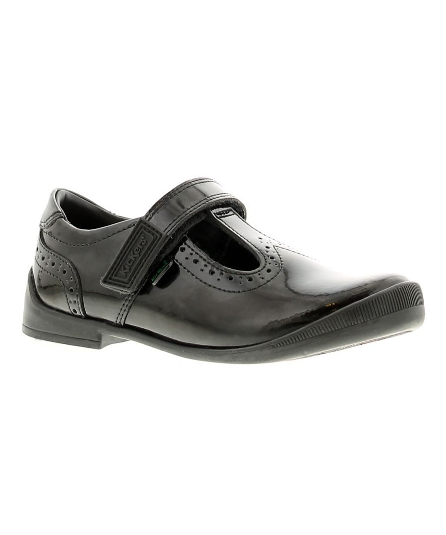 Image for Kickers bridie leather girls kids school shoes black