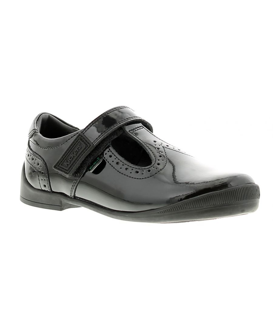 Image for Kickers bridie tv leather girls kids school shoes black