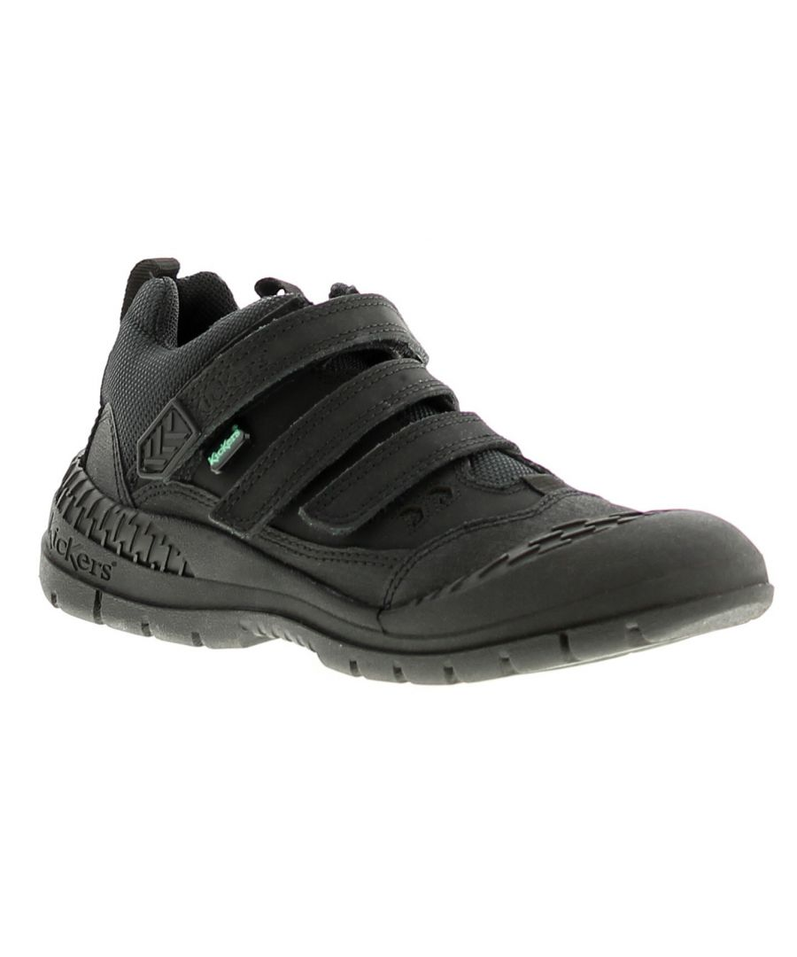 Image for Kickers trucker mid leather boys kids trainers black
