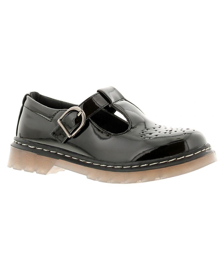 Image for Princess Stardust moda girls kids school shoes black
