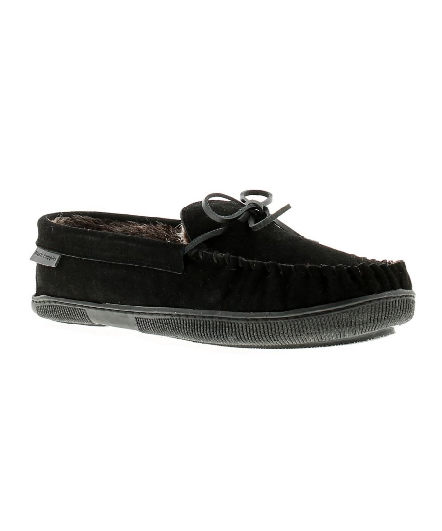 Image for Mens Real Suede  Mocassin Slipper With Cosy Faux Fur Lining And Sock With A Flexible Hardwearing Sol