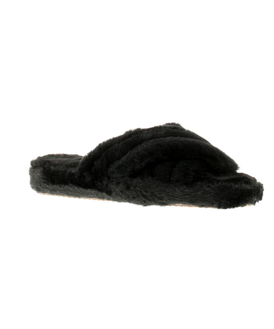 Image for Wynsors fluffy x womens ladies slip on slippers black