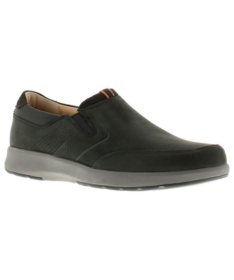 Image for Clarks un trail step leather mens casual shoes black