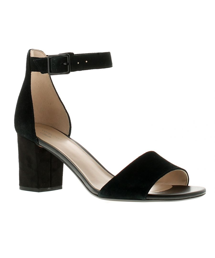 Image for Clarks deva mae leather womens ladies heeled sandals black suede
