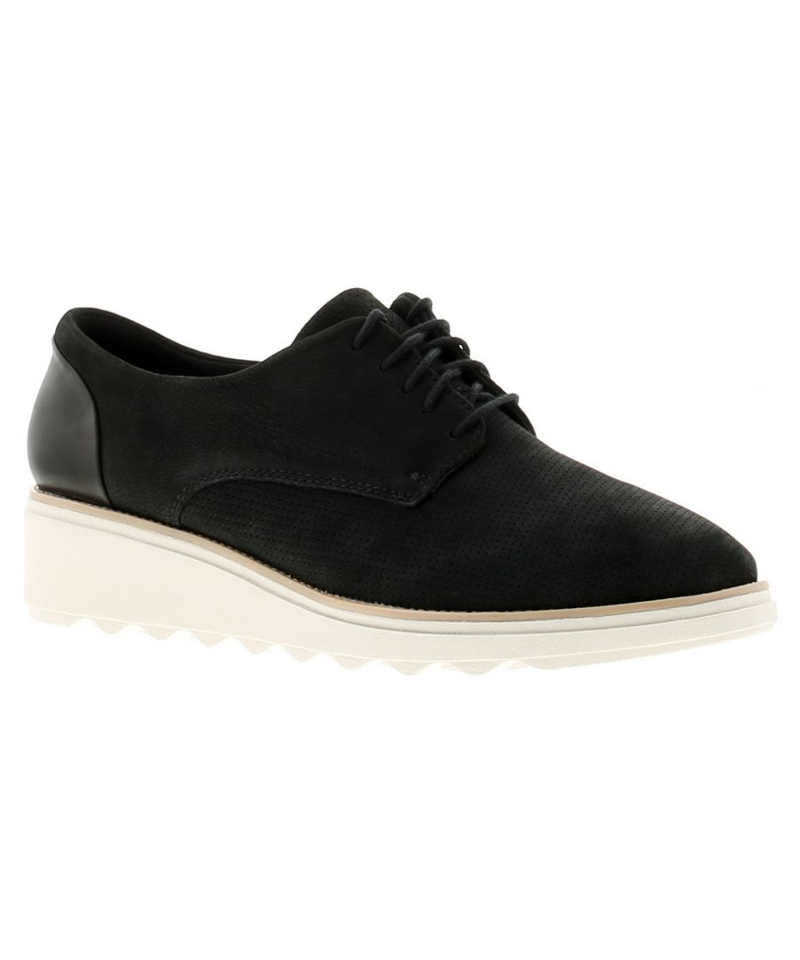 Image for Clarks sharon crystal leather womens ladies wedge shoes black