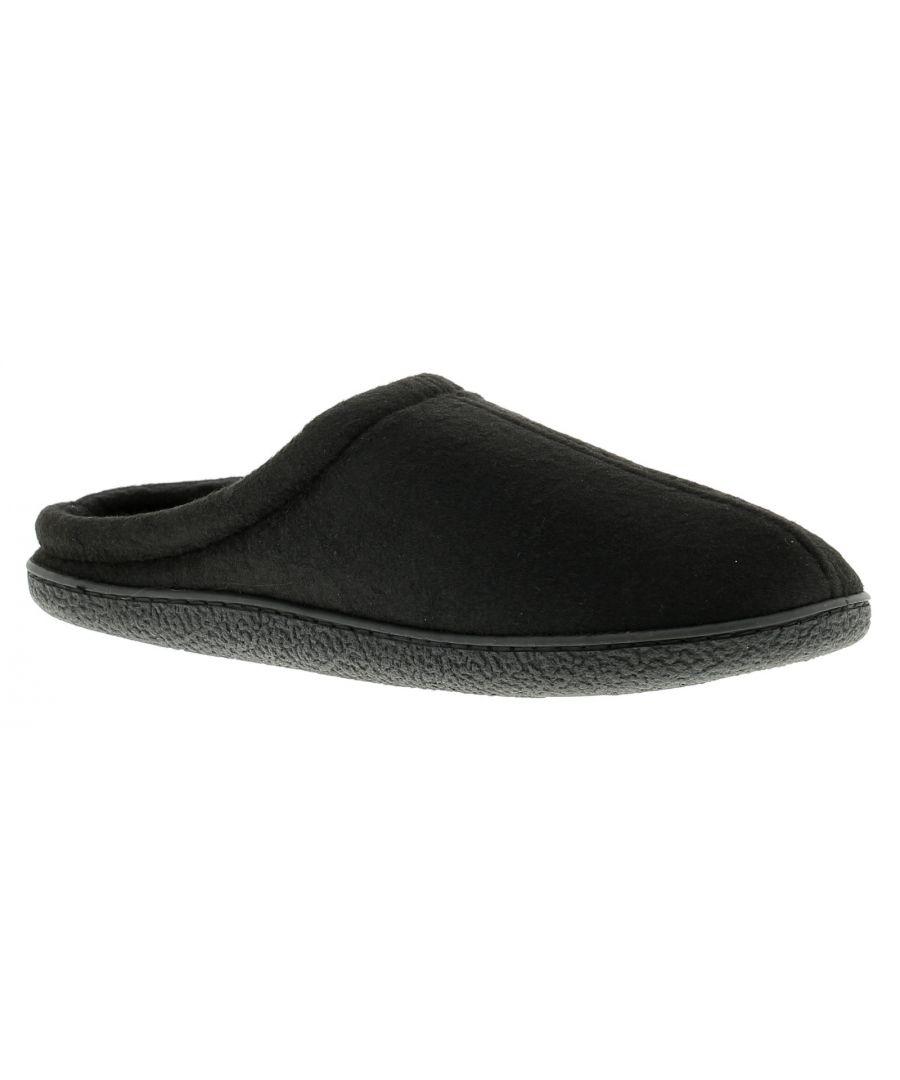 Image for Mens Brush Fleece Open Back Mule Slipper Matching Fleece Sock And Lining Memory Foam Comfort Sock On