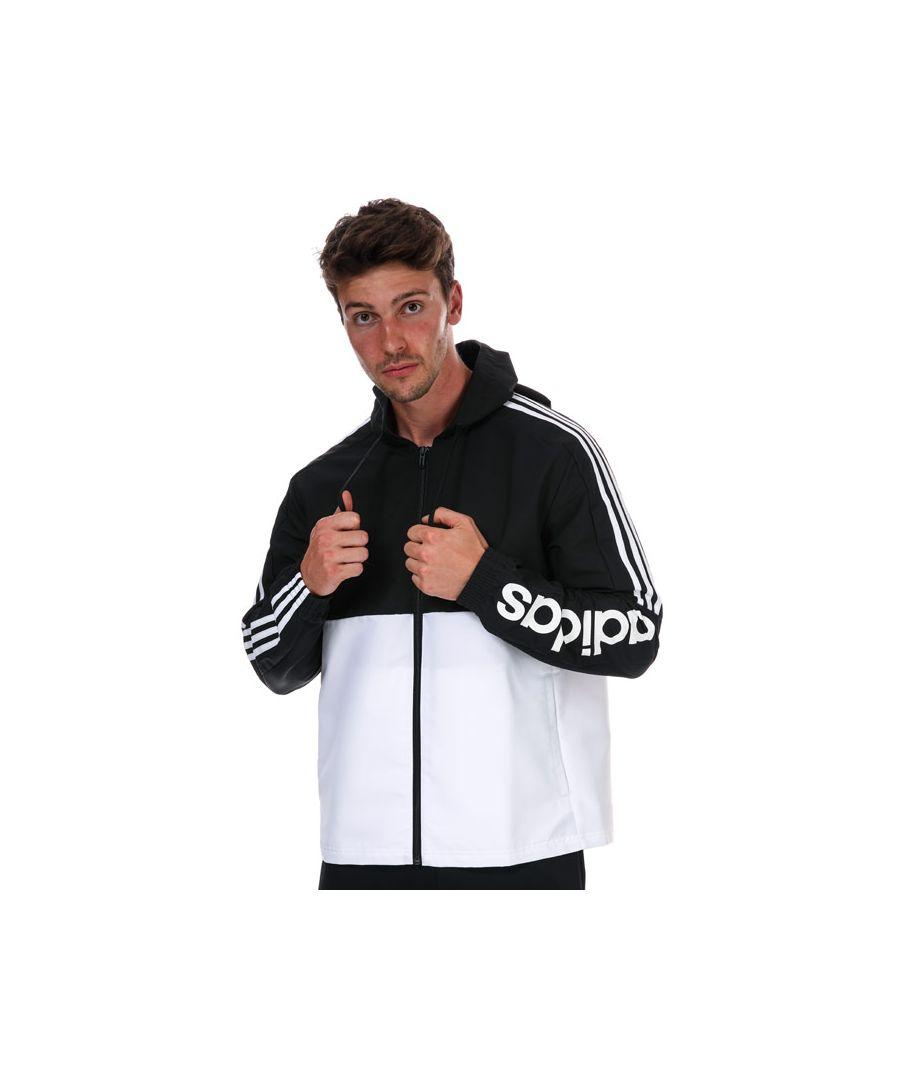 Image for Men's adidas Essentials Colorblock Windbreaker Jacket in Black-White