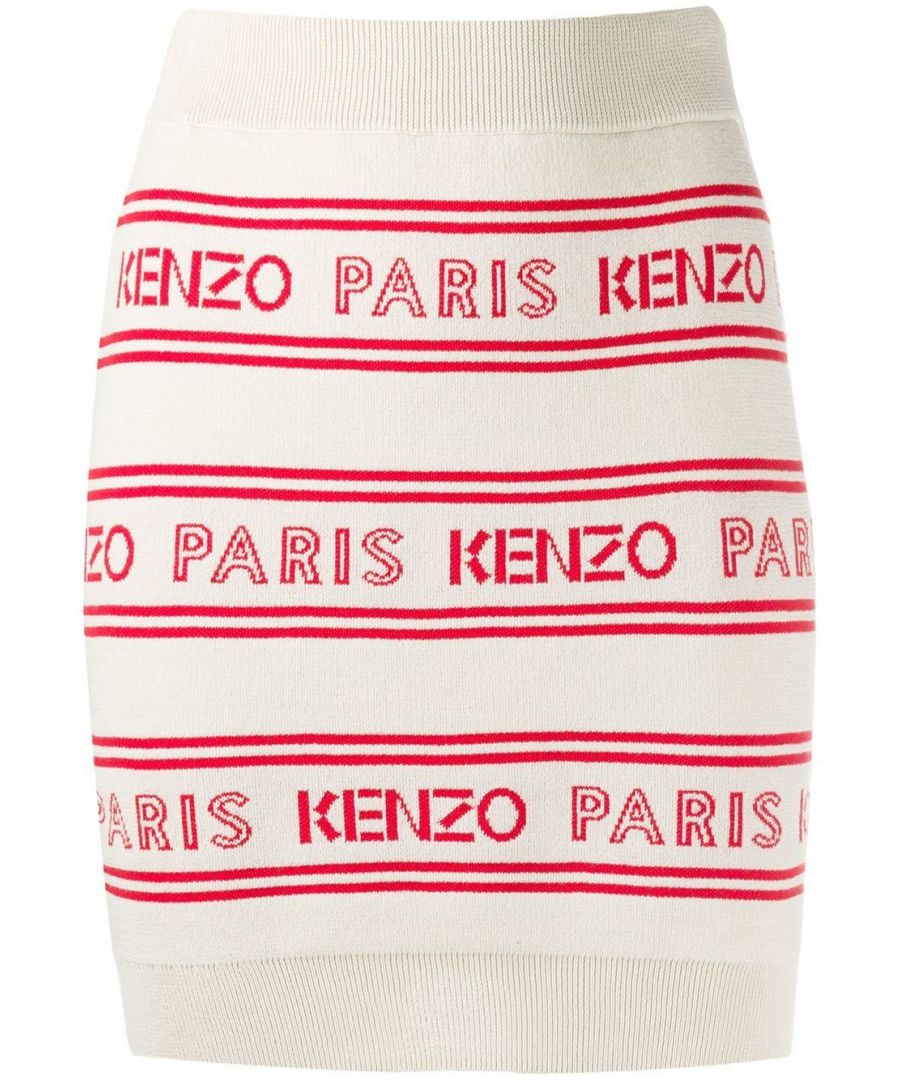 Image for KENZO WOMEN'S FA52JU50681202 WHITE COTTON SKIRT