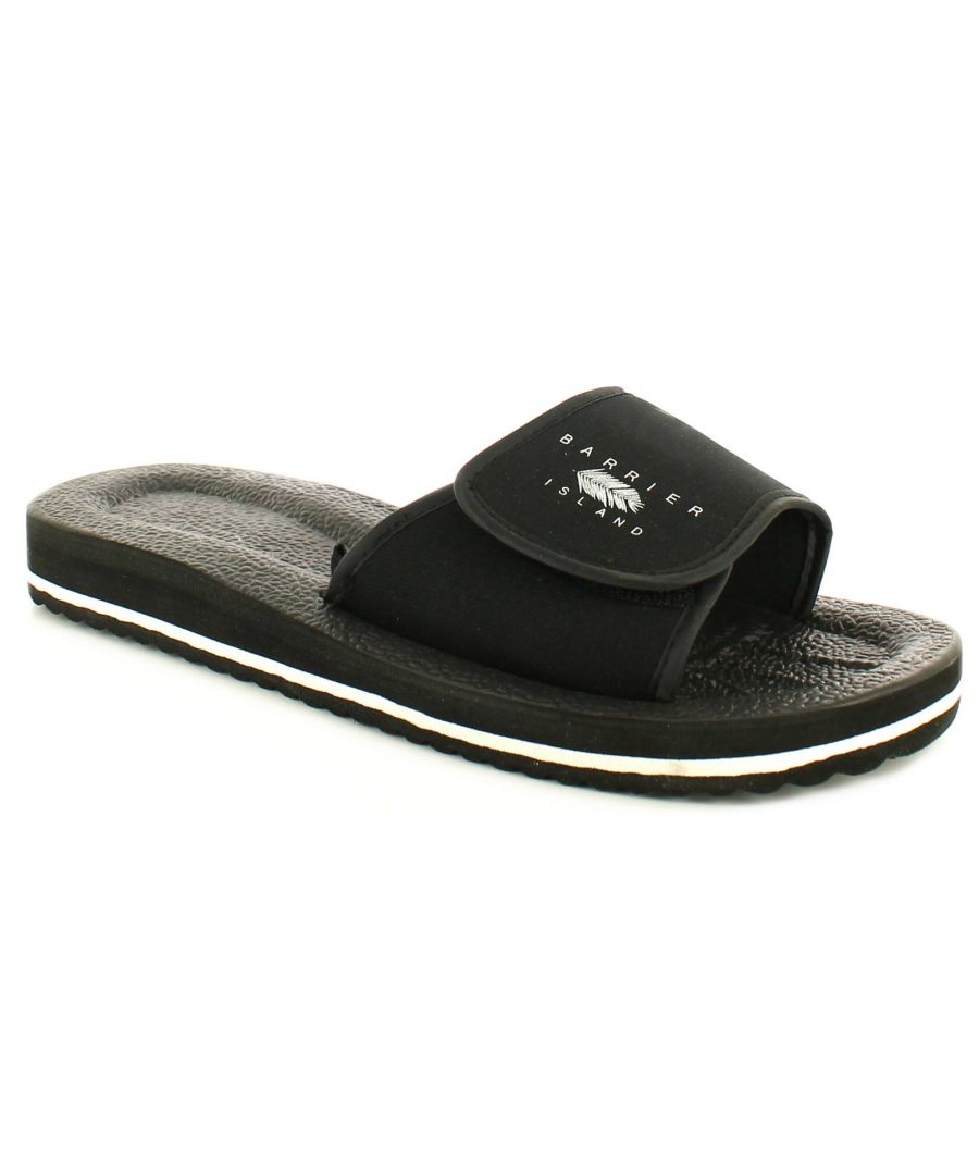 Image for New Mens/Gents Black Slip Ons Shower Mules Touch Fastening Flip Flops.