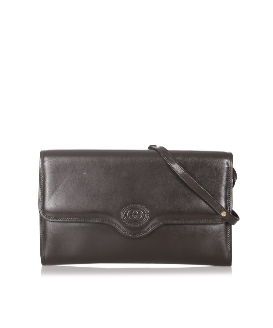 Image for Vintage Gucci Leather Crossbody Bag Brown