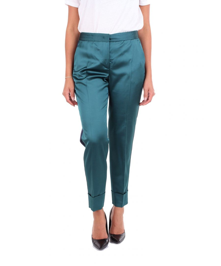 Image for PT01 WOMEN'S DM02VSANZN0STDBLUEGREEN BLUE VISCOSE PANTS