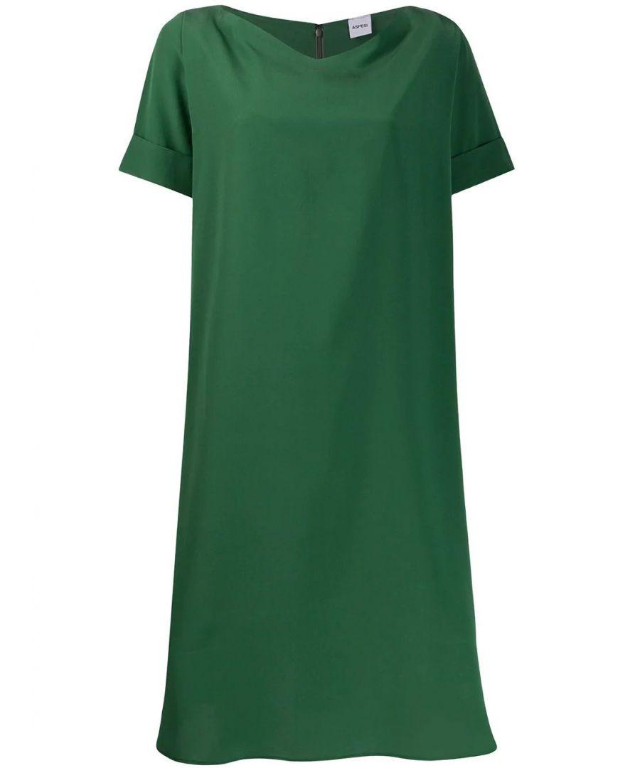 Image for ASPESI WOMEN'S H609B75305397 GREEN SILK DRESS
