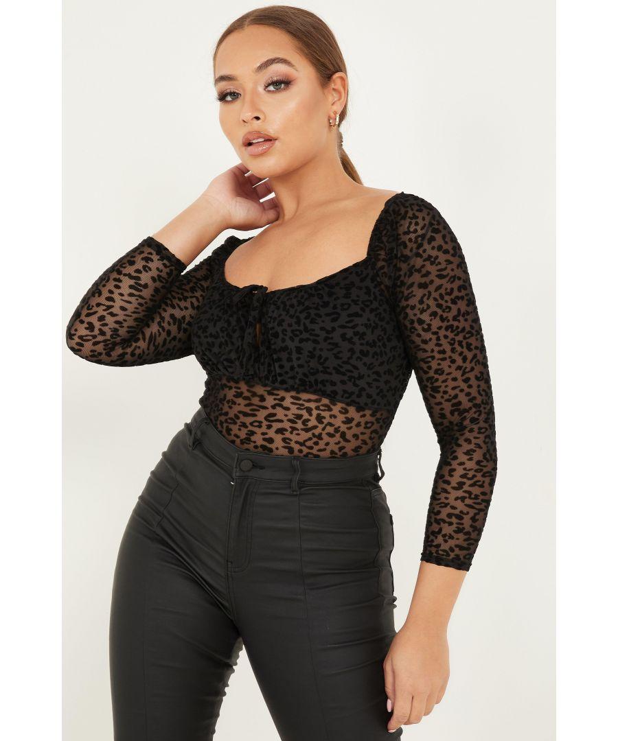 Image for Petite Black Animal Print Bodysuit