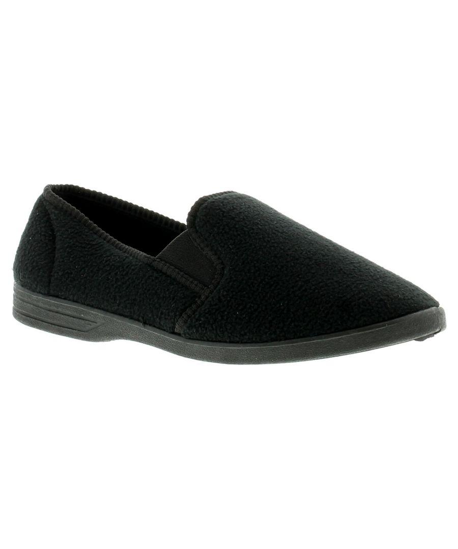 Image for New Mens/Gents Black Fleece Upper Twin Gusset Slippers.